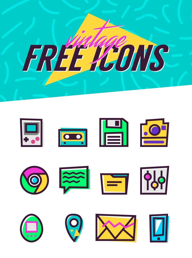 90 S Vintage Icons Free Design Resources 90s Graphic Design Web Design Quotes Vintage Icons