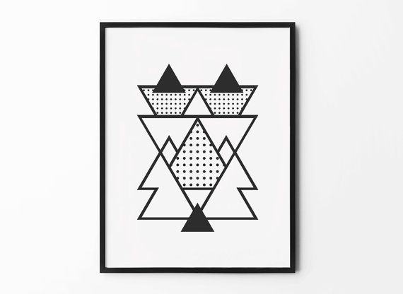 Buy 3 Get One FREE! $14 - Geometric Print Abstract Wall Art Black and White by MottosPrint