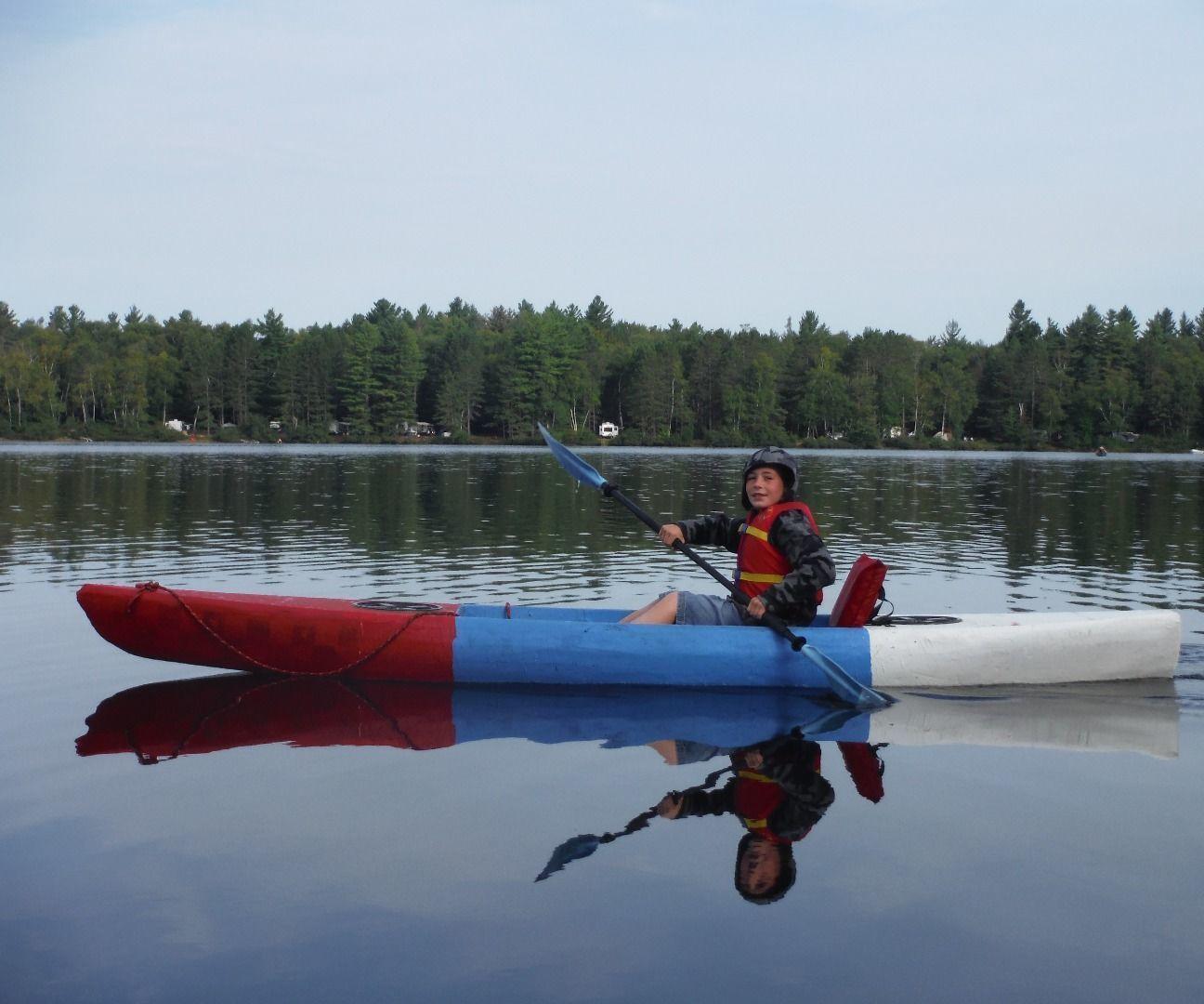 Sawfish, an unsinkable, lightweight, foam kayak (23 lbs). Free DIY kayak plans, the hardware store boat