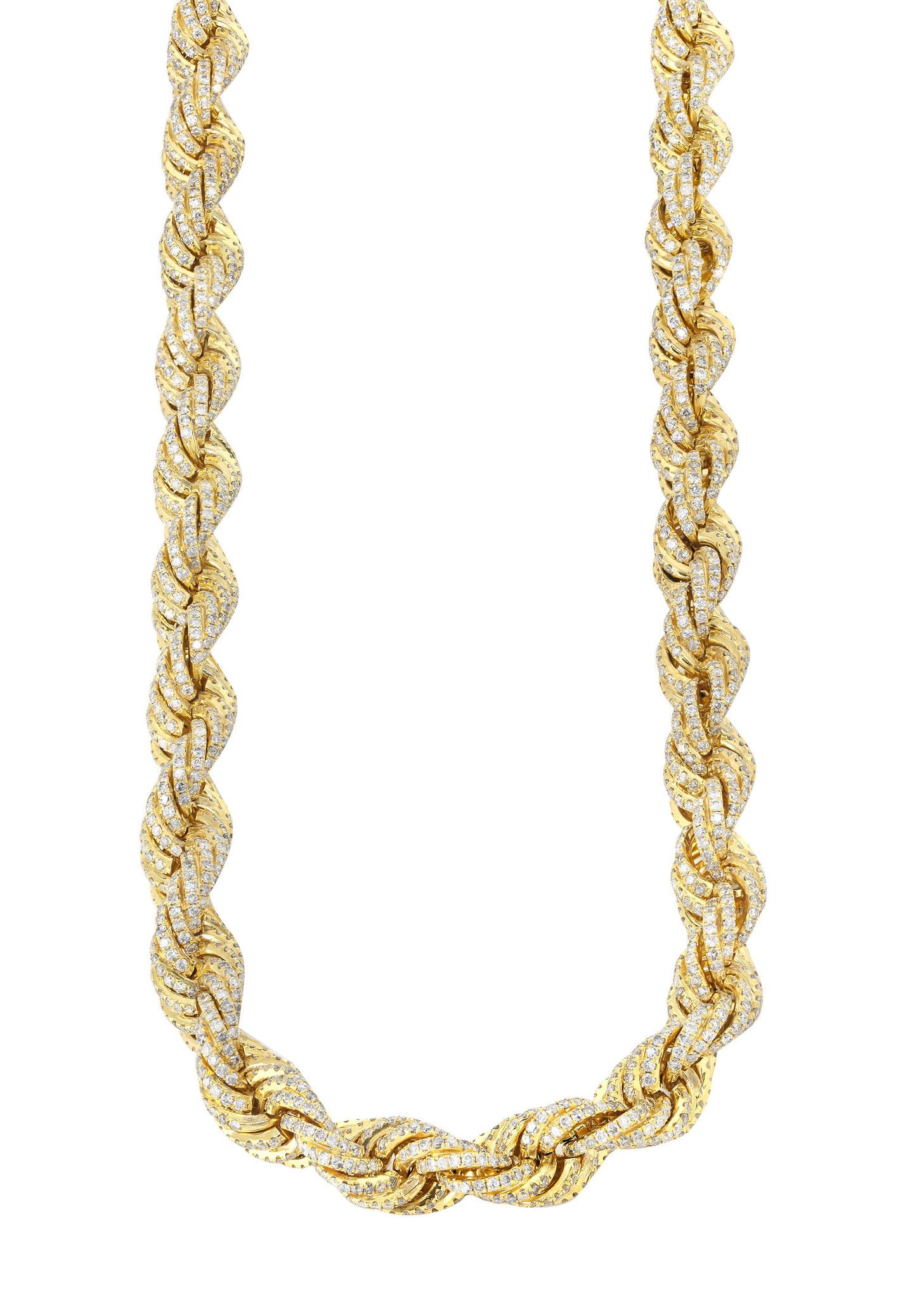 Iced Out Rope Chain 72 92 Carats 12 Mm Width 29 Inch Length Metal Stamped Jewelry Rope Chain Gold Necklace Women