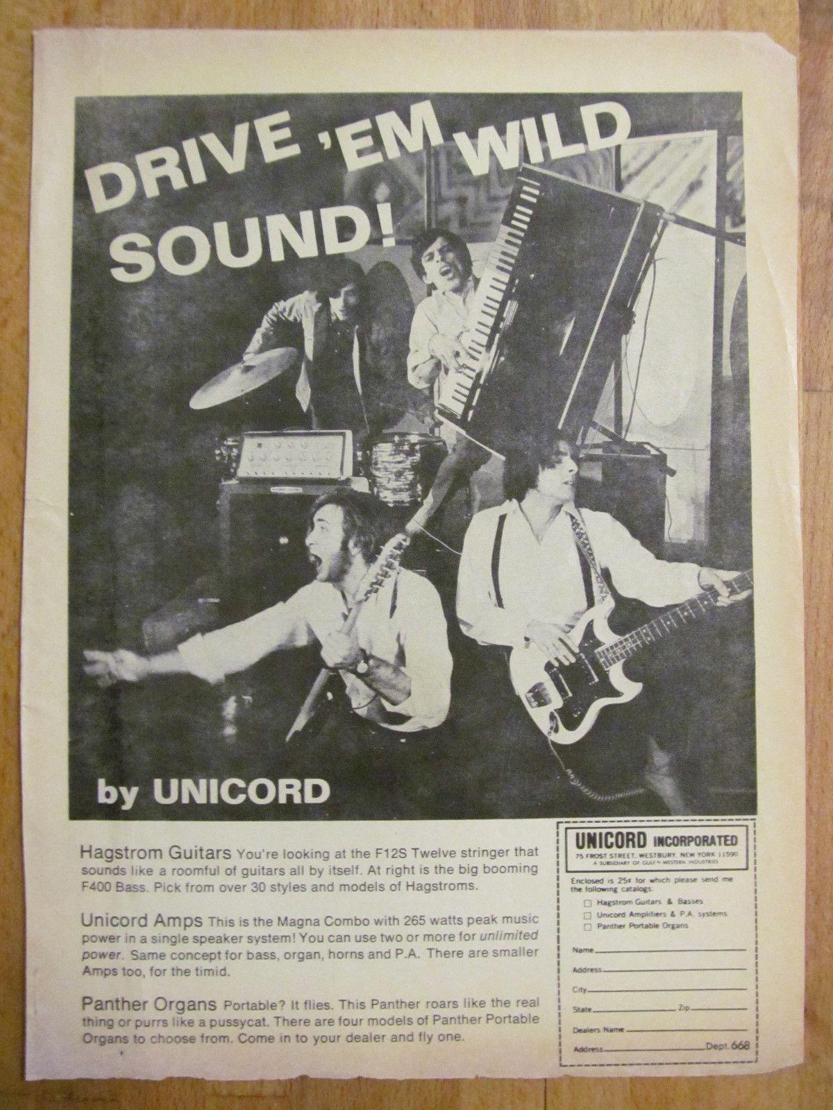Unicord Music Equipment Full Page Vintage Ad 1960'S | eBay