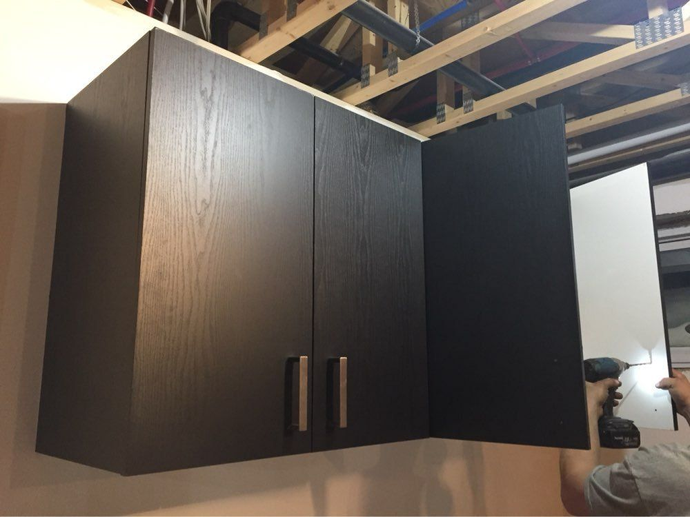 Vinyl Black Wood Grain Contact Paper Tall Cabinet