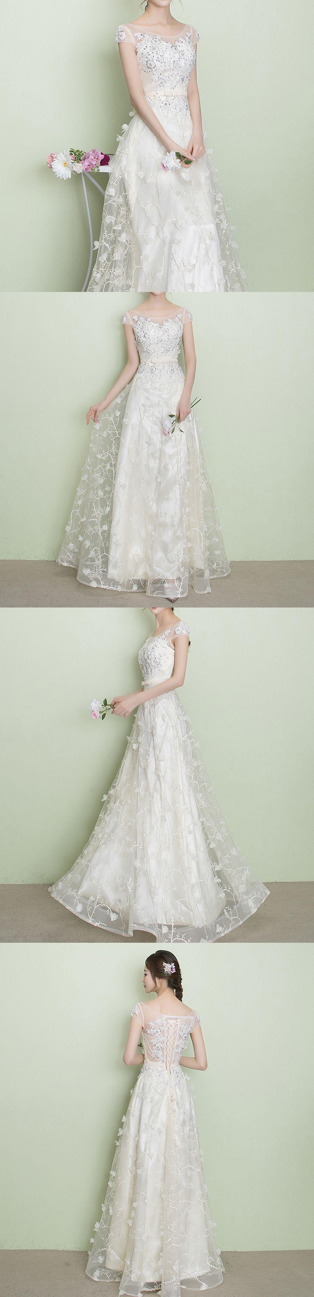Elegant white lace beading appliques short sleeve lace up back