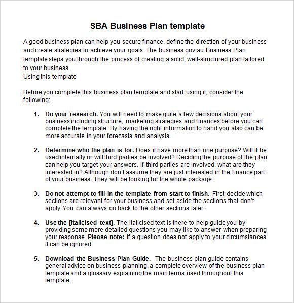 free sample business plan sba