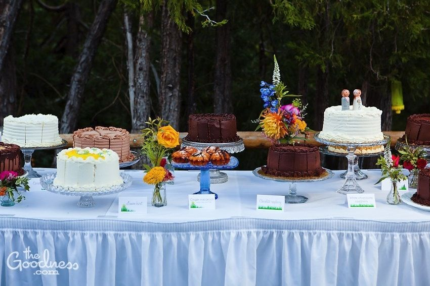 Lots of different cakes in different flavors instead of one big wedding cake