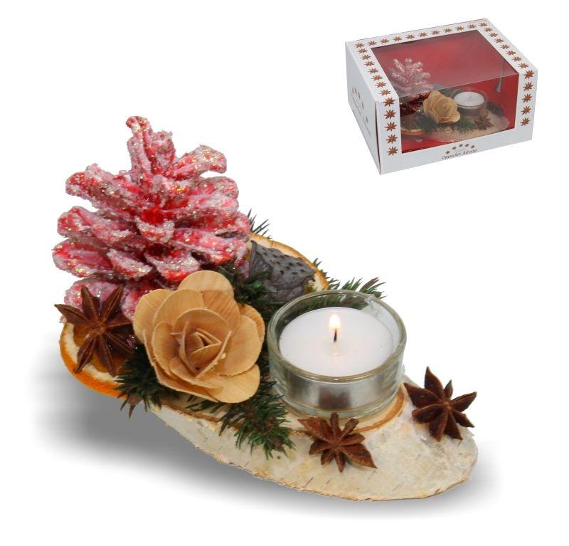 Kerzen tischgesteck klein rot light deko natur for Kerzen dekoration