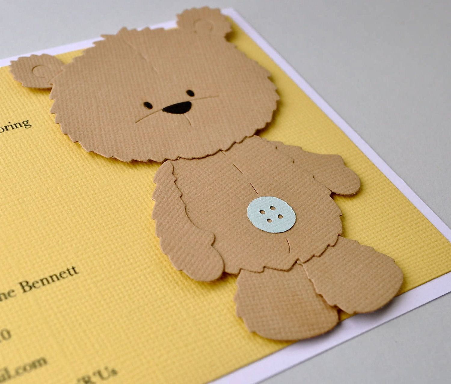 Reserved listing - Brown teddy bear birthday invitation, brown bear ...