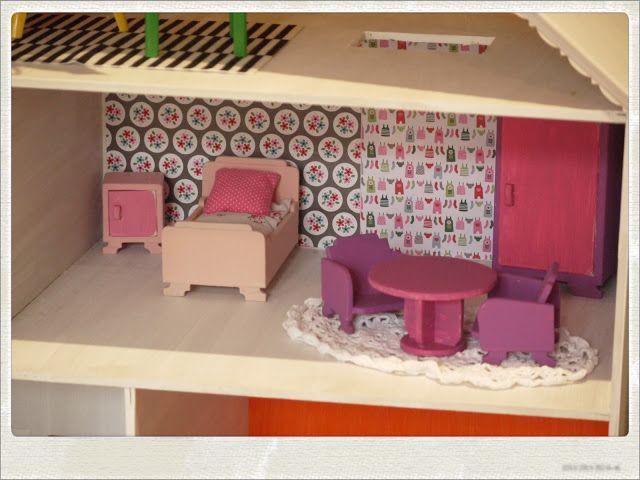maison de poupée diy à construire soi même chambre rose et violette