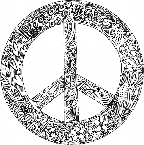 Doodle Coloring Page – Peace Sign | Peace sign drawing, Free ...