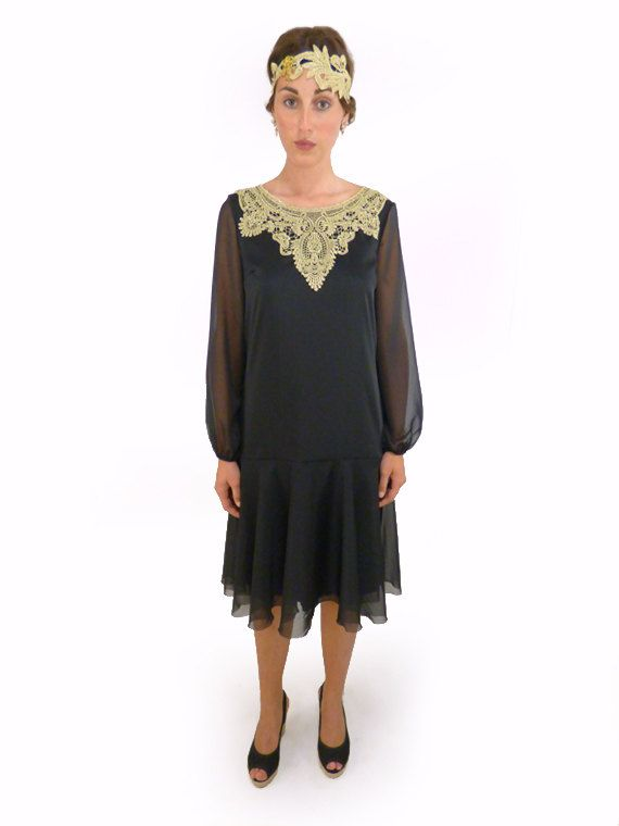 5b22fe7d137 Black flapper dress chiffon gold lace robe charleston cocktail Bishop sleeve  elegant vintage style Great Gatsby Roaring 20s 1920s   YVETTE