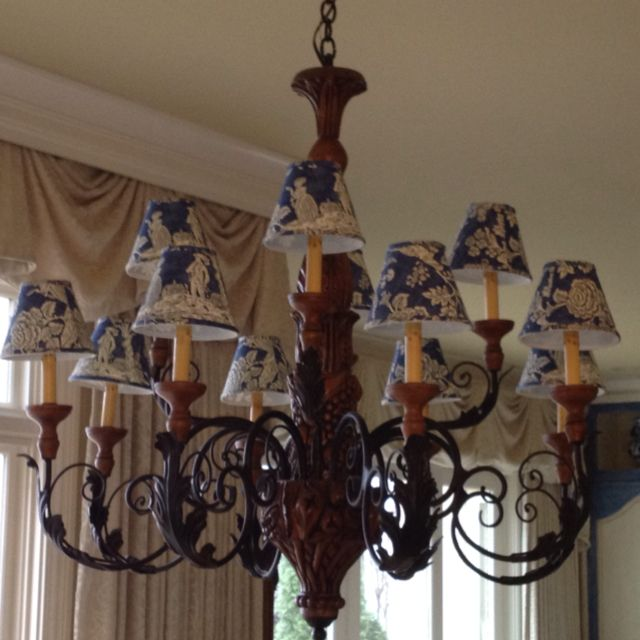 French Country Blue Lamps: Chandelier With Pierre Deux Shades