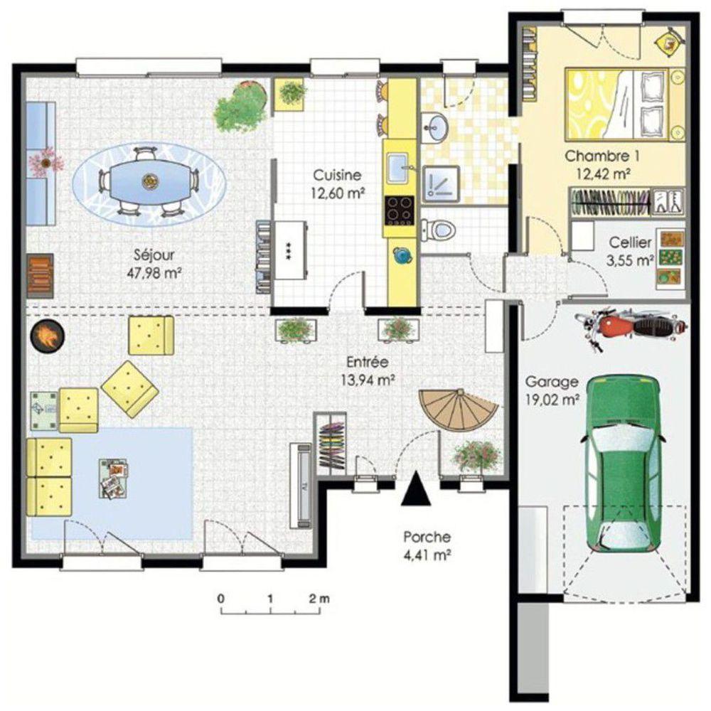 Grande maison contemporaine plan maison plan maison - Plan maison plain pied 1 chambre ...