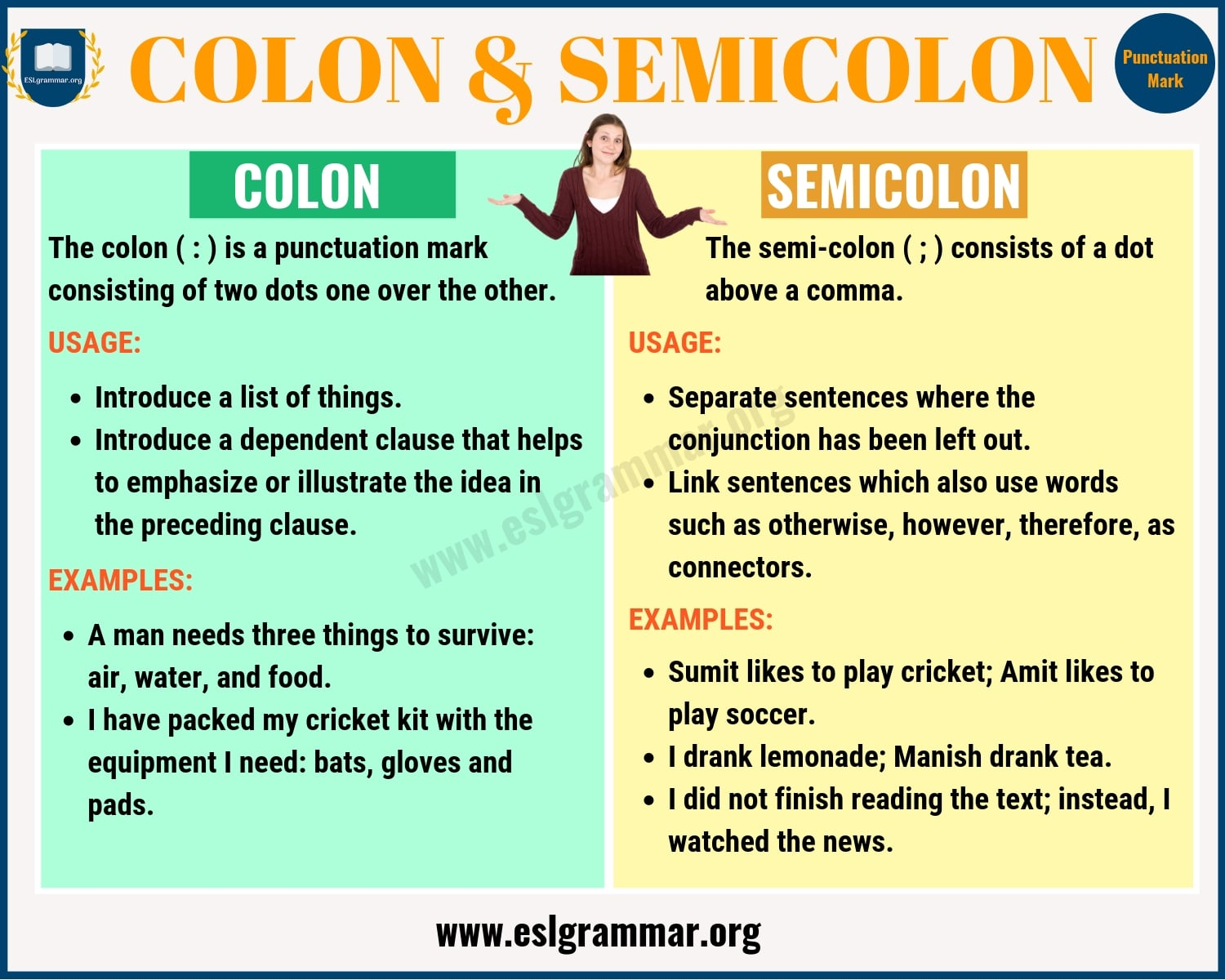 Colon Vs Semicolon When To Use A Semicolon A Colon