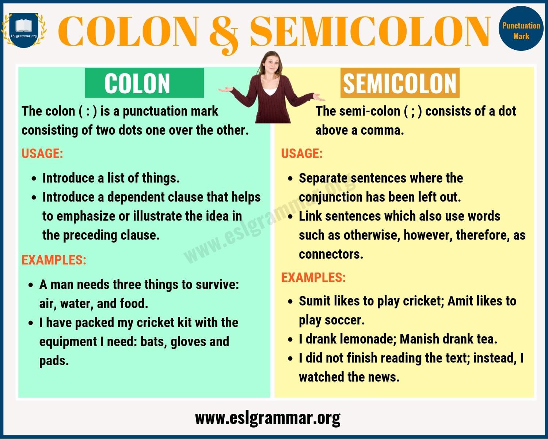 Colon Vs Semicolon When To Use A Semicolon A Colon