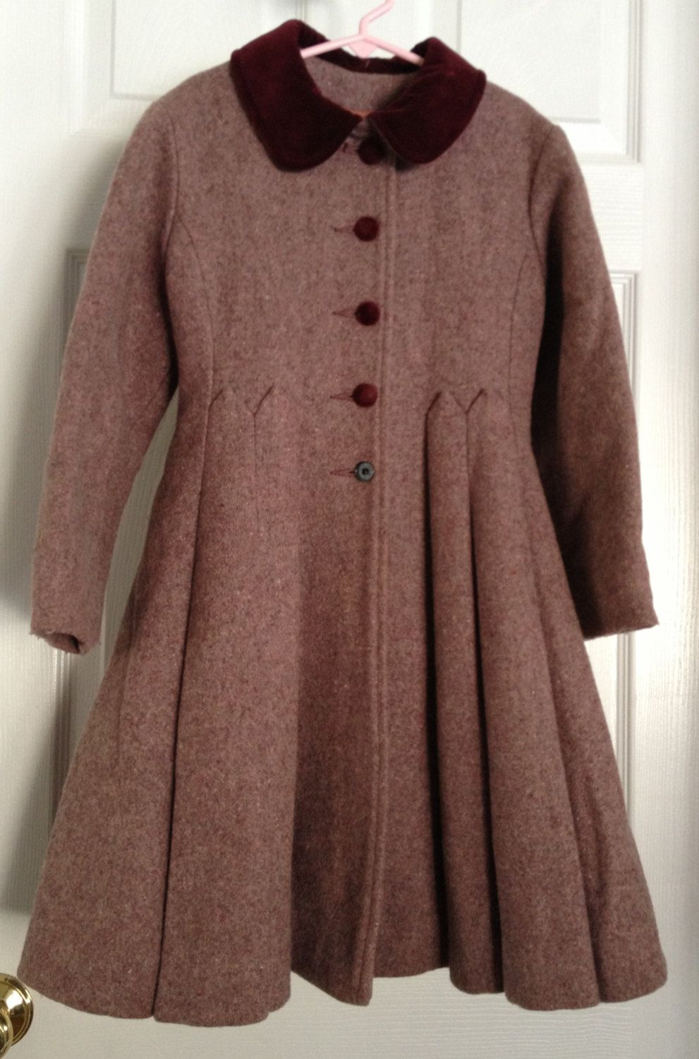 Vintage Child's Wool Coat and Hat Velvet Trim Rothschild of ...