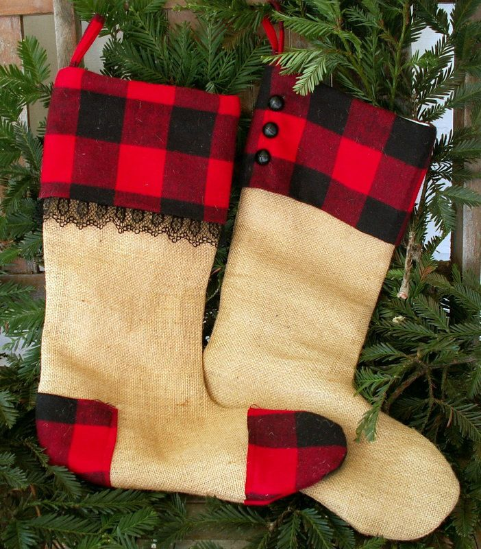 hers and his rustic burlap with red buffalo plaid christmas stockings or your personal name 7200 via etsy