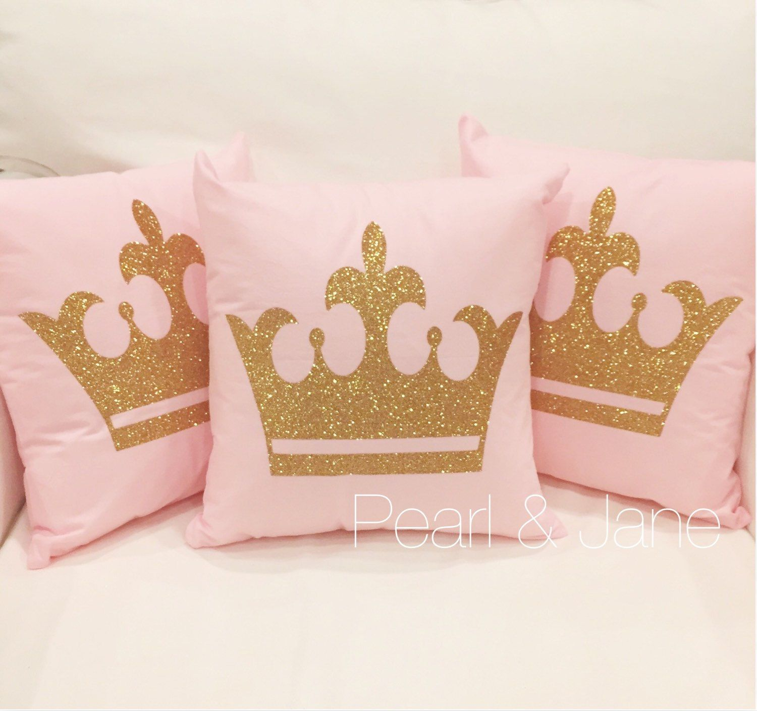 Crown Decorative Throw Pillow Cover 8 Color Options Gold or