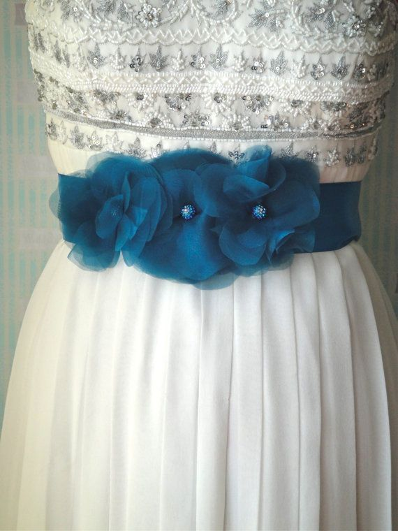 Monica Bridal Sash In Turquoise, Organza, Wedding Accessories, Bridal Belt, Bridesmaids. $40.00, via Etsy.