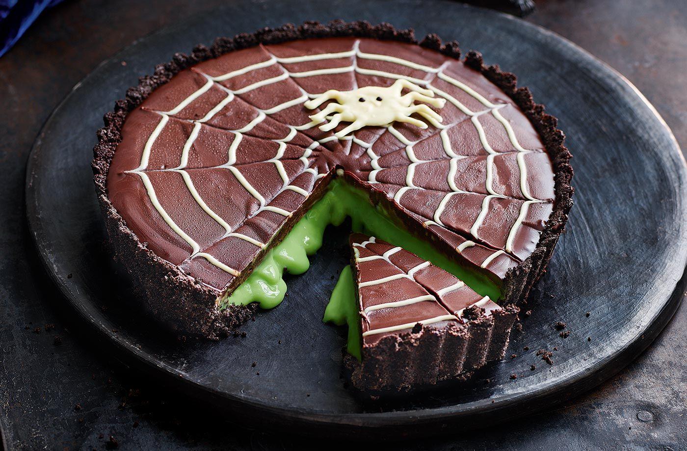 Vanessa S Not So Scary Chocolate Slime Tart Tesco Real Food Recipe Chocolate Slime Halloween Tart Tart Recipes