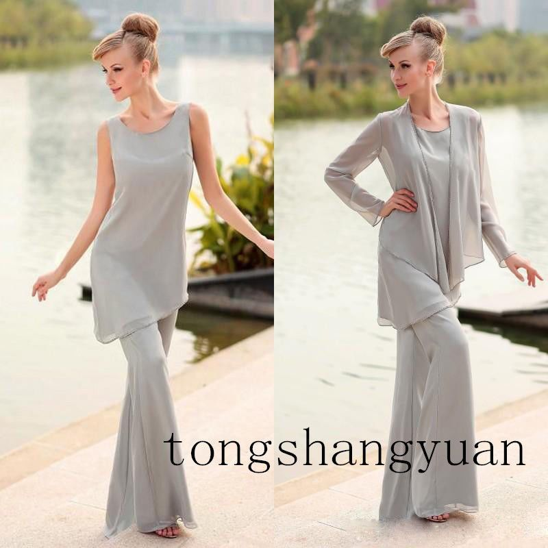 Grey Pants Suit Mother Of The Bride Dress +jacket Chiffon Formal ...