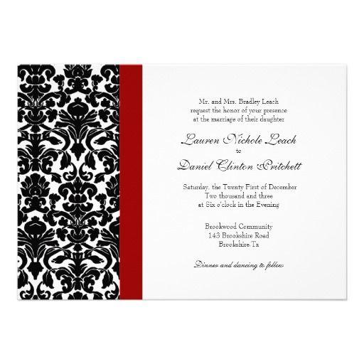 Damask Wedding Invitation Black White Red