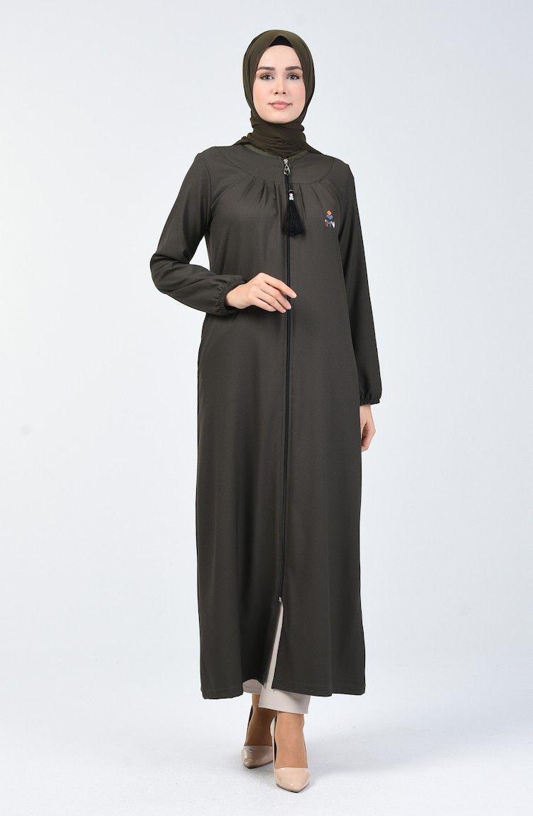 عباية سادة بسحاب لون خاكي شيك هانم Fashion Nun Dress Dresses