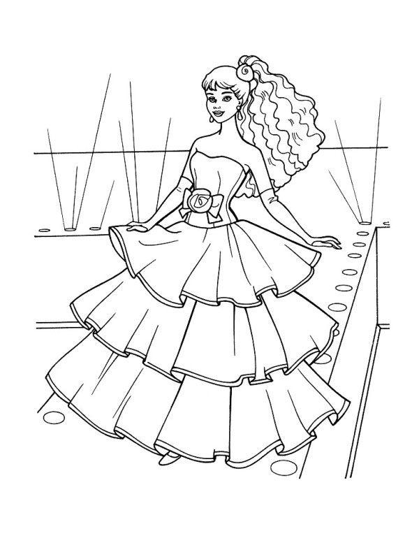 раскраска Барби одежда мода скачать бальное платье ...
