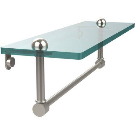 16 inch Glass Vanity Shelf with Integrated Towel Bar (Build to Order