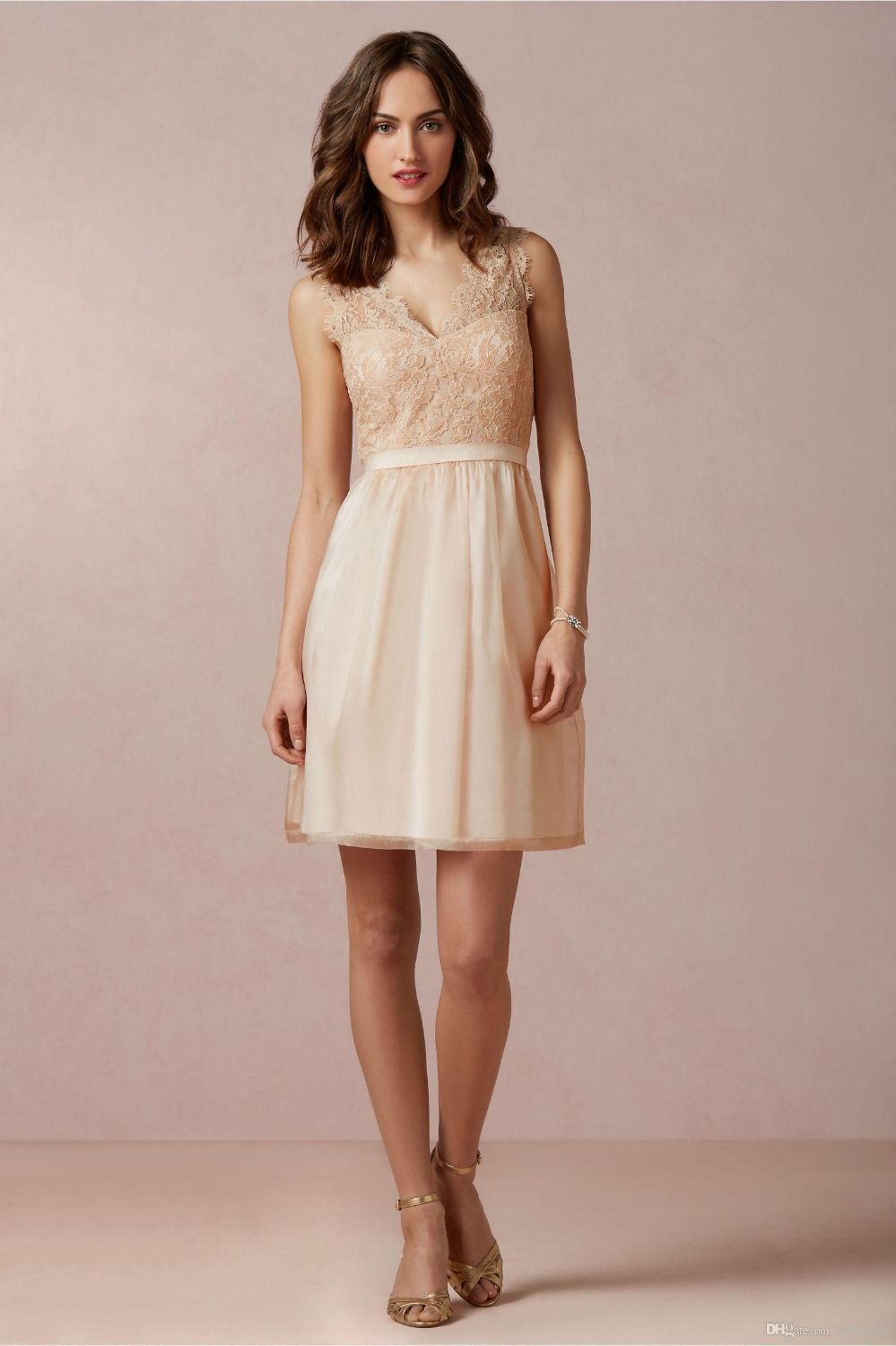 Champagne bridesmaid dress lace party dress tulle short for Simple elegant short wedding dresses