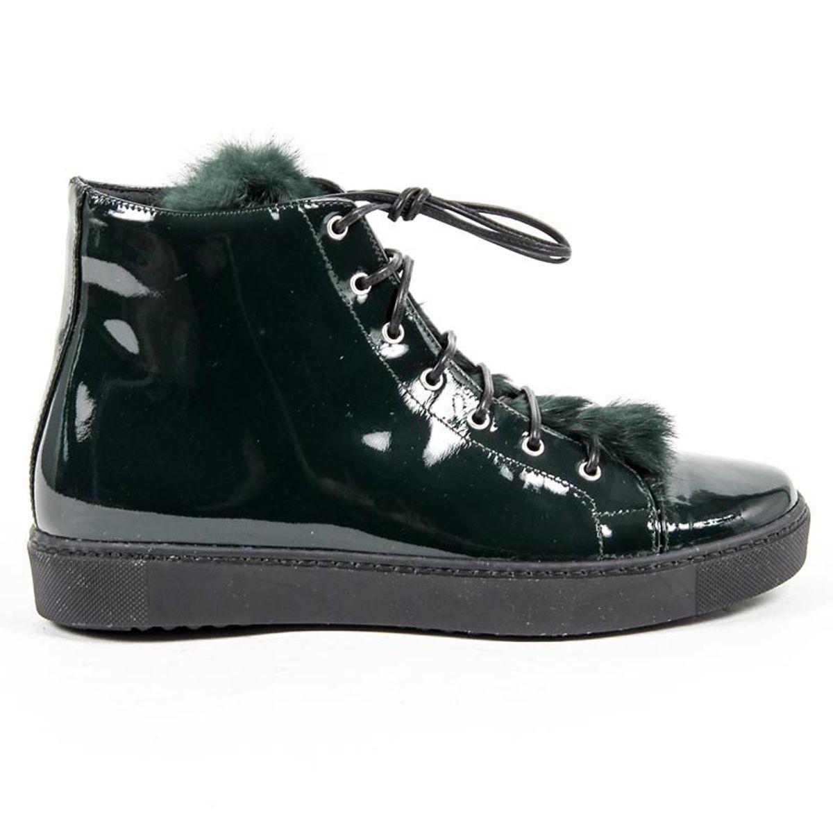 Versace 19.69 Abbigliamento Sportivo Srl Milano Italia Womens High Sneaker 312070 VERNICE VERDE