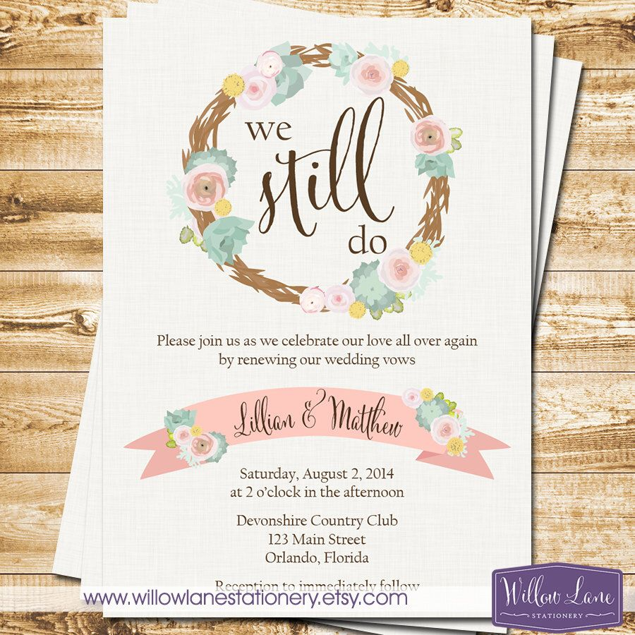 Floral wreath vow renewal invitation we still do watercolor items similar to floral wreath vow renewal invitation we still do watercolor mint green pink vow renewal invitation rustic linen printable on etsy stopboris Images