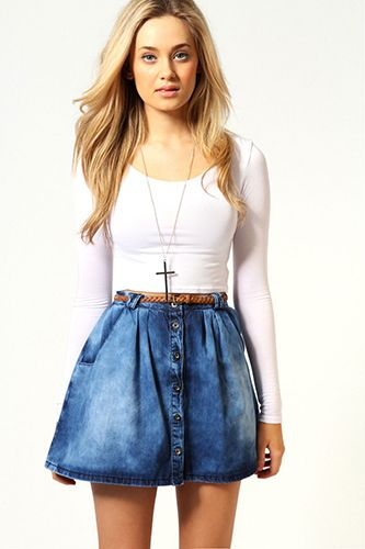 1918d5cf3 8 Spring Denim Trends To Try Now acid wash skater Boohoo Emma Button Front Denim  Skirt, $40, available at Boohoo.