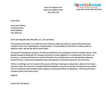 Resignation Letter Work Related ) Pinterest Best - sample pregnancy resignation letters