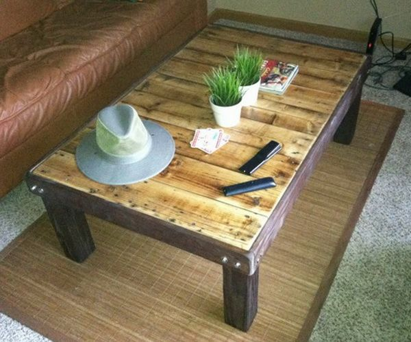 How to Make a Super Cheap Coffee-Stained Wood Pallet Coffee Table   Furniture & Woodworking