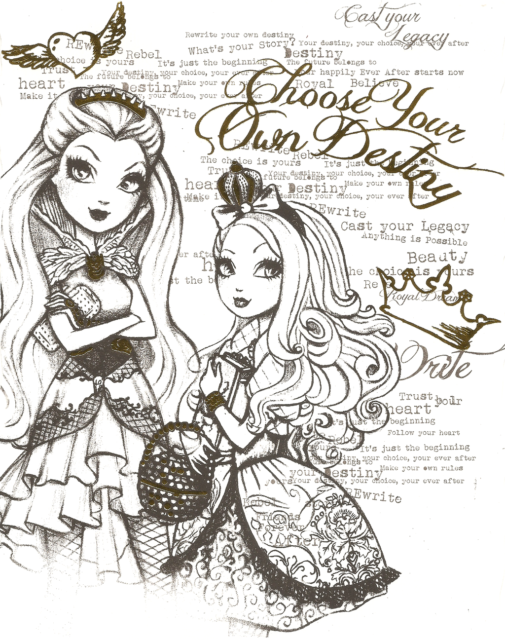 Ever After High Watercolor Set Page Apple White Raven Queen
