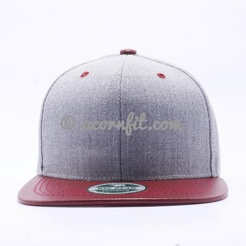 11af2d8597c Heather Grey Leather Snapback Hats Wholesale  H.Grey Maroon ...