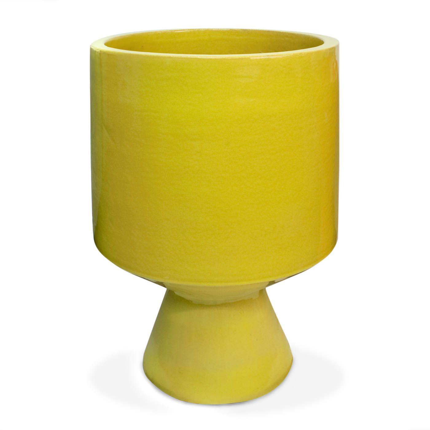 Yellow Okura Planter Ceramic Pot Stoneware Planter Decorative Bird Houses