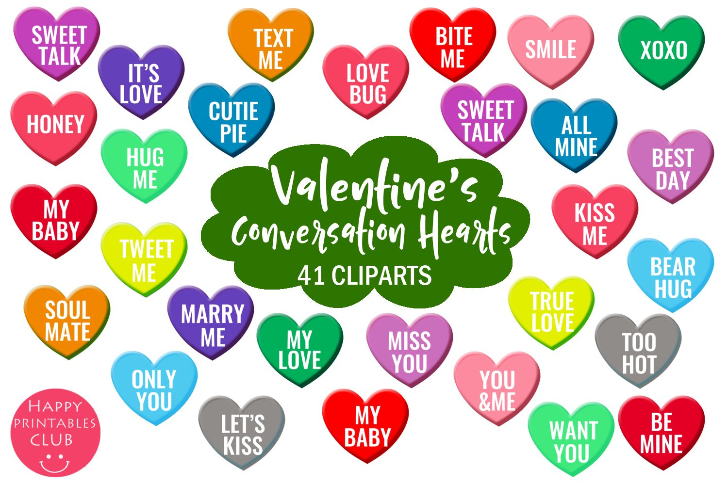 Valentine S Conversation Hearts Cliparts Graphic By