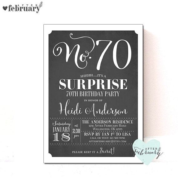Surprise 70th Birthday Party Invitation ANY AGES Adult