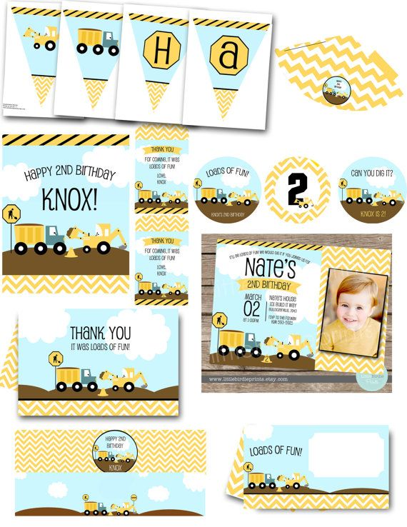 CONSTRUCTION BIRTHDAY PARTY Pack Invitation With Bulldozer, Dump Truck Chevron Invite, Banner, Cupcake Toppers Favor Tags, Hat, Water Bottle on Etsy, $49.00