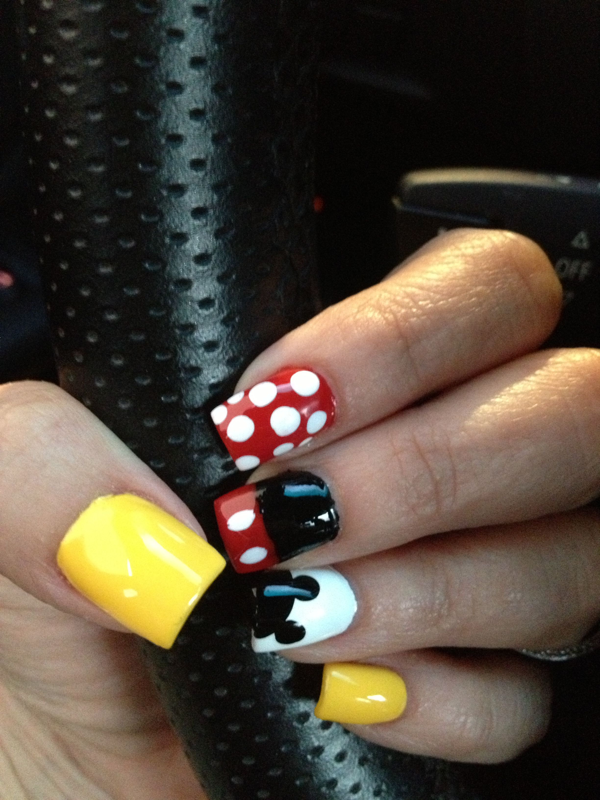 My version of Mickey Minnie Mouse Nails | Owen\'s first birthday ...