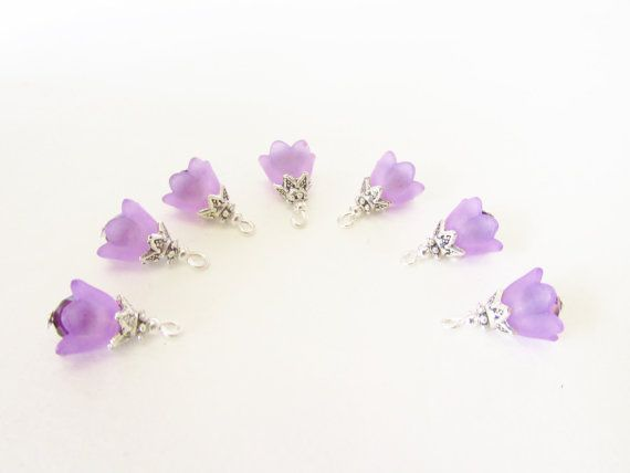 Purple Flower Cap Charms  7 Pcs. Dark Purple by CrystalGirlz