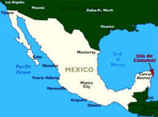 Map showing Cozumel on the tip of Yucatan Peninsula ...