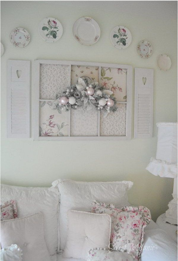 Old Window And Plates On The Wall Shabby Chic Wall Art Shabby