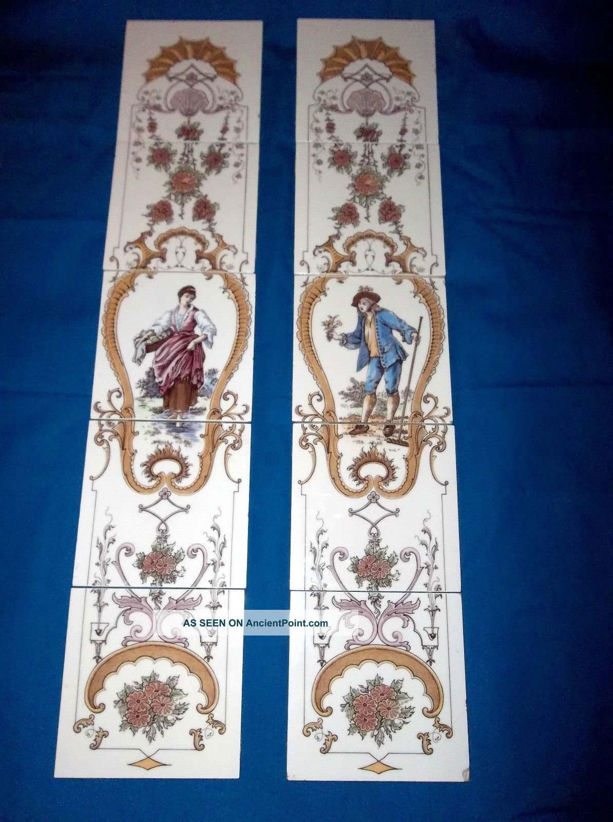 antique victorian fireplace tiles rare pinkie and blue boy made in