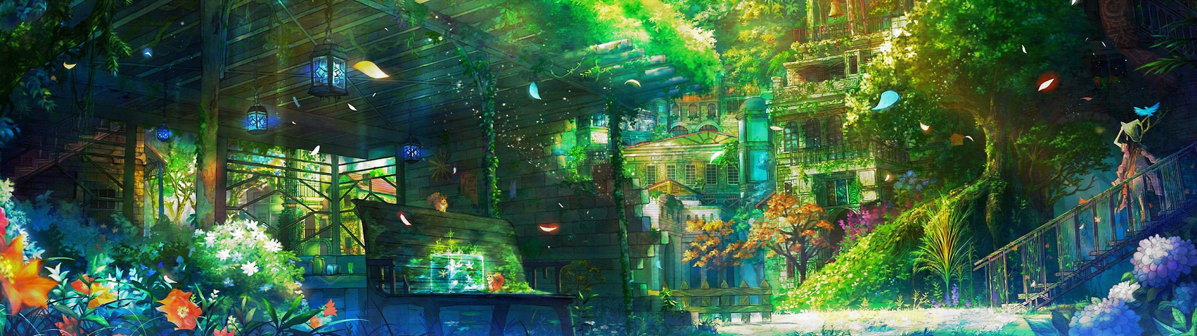 4k wallpaper anime (3840x1080) Paysage manga, Paysage et