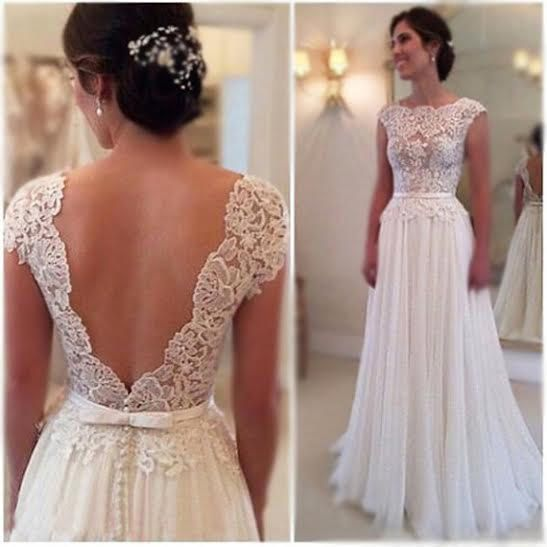 Vintage Style Lace Wedding Dresses: CUSTOM MADE... Ivory Or White Vintage Style Cap Sleeve Low