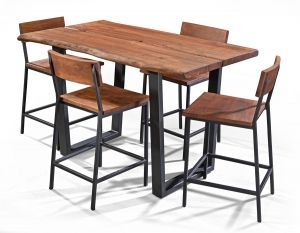 Solid Acacia Live Edge Counter Height Dining Table And Stool Set