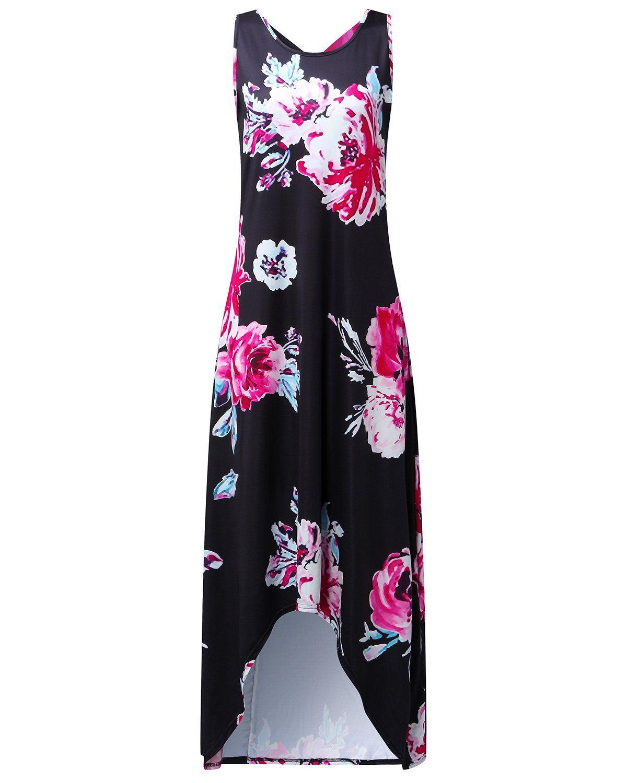 25d69d6c463fb Auxo Women Floral Maxi Dress Sleeveless Round Neck Long Pockets Sundress  Casual Summer Hawaiian Boho Dresses