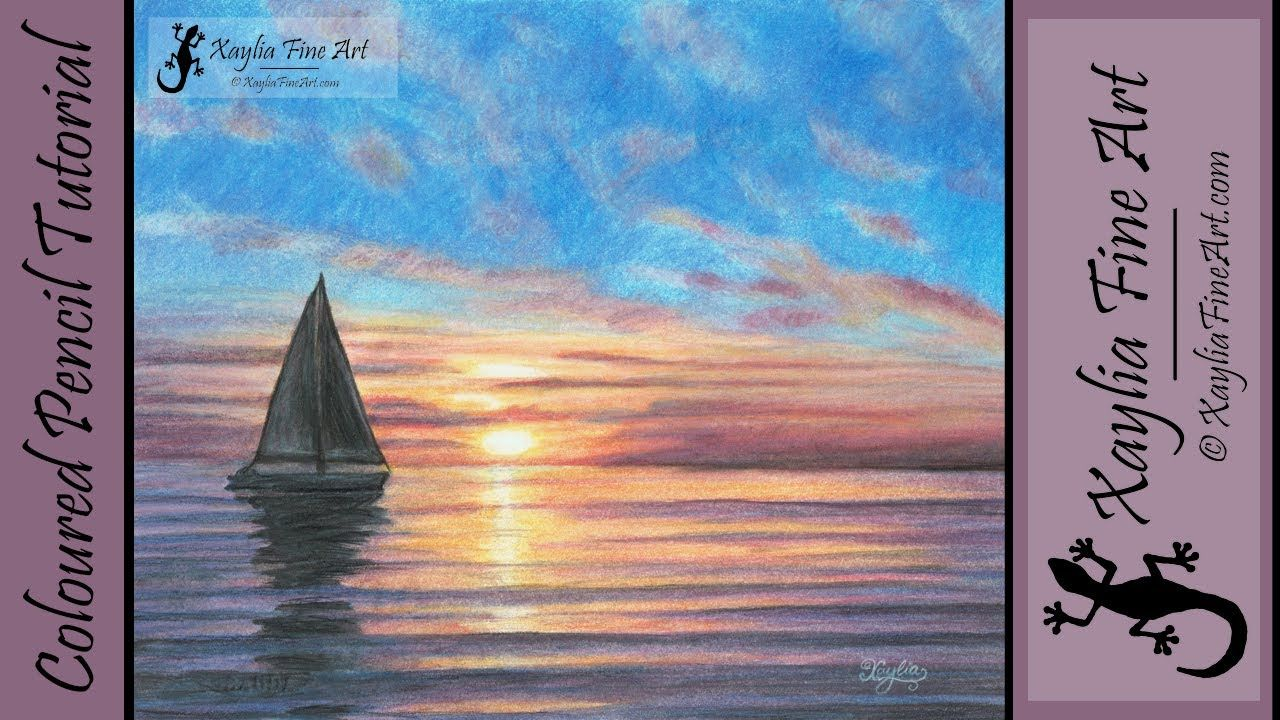 Tutorial How To Draw An Ocean Sunset In Coloured Pencils Call Of